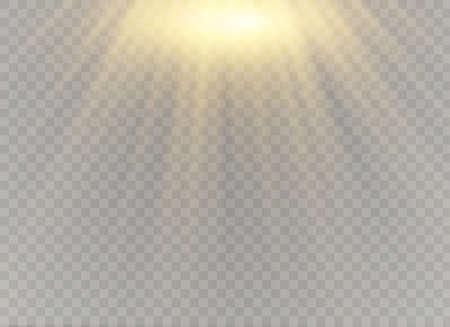 Lente speciale luce solare trasparente vettoriale effetto luce flash. Lente solare anteriore flash. Sfocatura vettoriale alla luce della luminosità. Elemento di arredo. Raggi stellari orizzontali e proiettore.