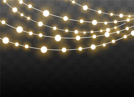 Christmas lights isolated on transparent background. Xmas glowing garland. Vector illustration Illustration