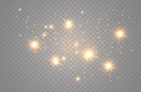 The yellow dust sparks and golden stars shine with special light. Vector sparkles on a transparent background. Sparkling magical dust particles. Ilustración de vector