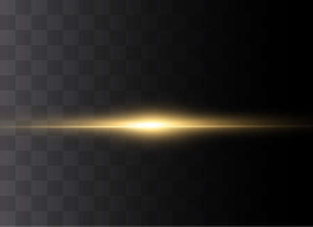 yellow horizontal lens flares pack. Laser beams, horizontal light rays.Beautiful light flares. Glowing streaks on dark background. Luminous abstract sparkling lined background. Ilustrace