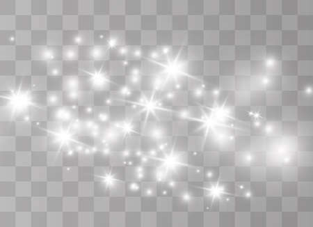 Białe iskry pyłu i złote gwiazdy świecą specjalnym światłem. Wektor błyszczy na przezroczystym tle. Błyszczące magiczne cząsteczki kurzu.