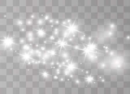 Le scintille di polvere bianca e le stelle dorate brillano di una luce speciale. Vector brilla su uno sfondo trasparente. Particelle di polvere magica scintillante.