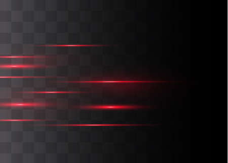Red horizontal lens flares pack. Laser beams, horizontal light rays.Beautiful light flares. Glowing streaks on dark background. Luminous abstract sparkling lined background. Ilustrace