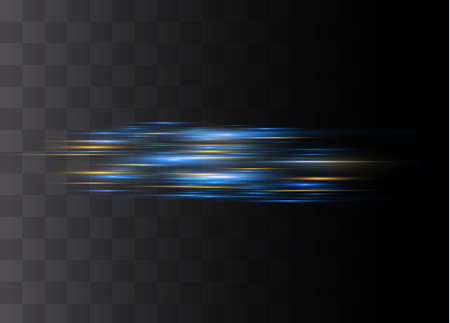 Blue horizontal lens flares pack. Laser beams, horizontal light rays.Beautiful light flares. Glowing streaks on dark background. Luminous abstract sparkling lined background. Ilustrace