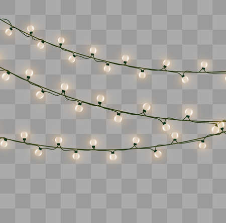 Christmas lights isolated on transparent background. Xmas glowing garland. Vector illustration Ilustrace