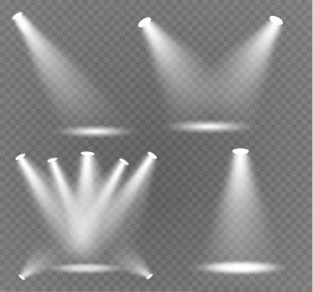 Vector spotlight. Light effect.Glow isolated white transparent light effect. Abstract special effect element design  イラスト・ベクター素材