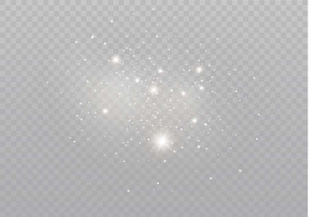 The white dust sparks and golden stars shine with special light. Vector sparkles on a transparent background.  Sparkling magical dust particles. Ilustrace