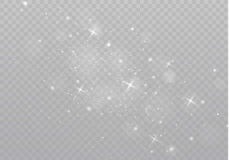 The white dust sparks and golden stars shine with special light. Vector sparkles on a transparent background.  Sparkling magical dust particles. Illustration