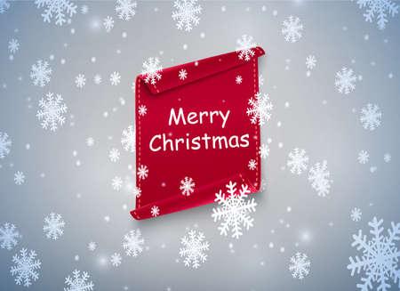 Rote Schriftrolle mit Weihnachten. vor dem Hintergrund von Schnee und Schneeverwehungen.