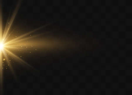 Yellow glowing light explodes on a transparent background. Sparkling magical dust particles. Bright Star. Transparent shining sun, bright flash. Vector sparkles.