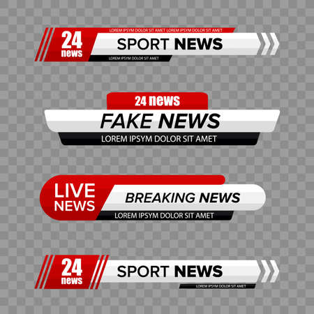 Tv news bar. Lower Third TV News Bars Set Vector. Television broadcast media title banner.