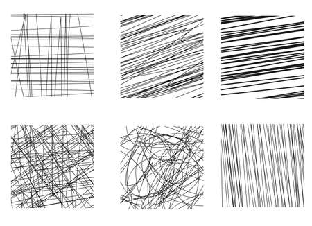 Collection of doodles. Hand drawing vector effect. Scraper elements. Simple illustration for the web, creative project or print production. Hatching sketch.