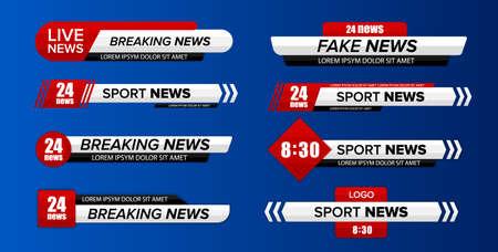 Barre d'informations télévisées. Le tiers inférieur des barres d'actualités télévisées définissent le vecteur. Bannière de titre de média de diffusion télévisée. Vecteurs