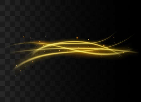 Gold lines light effect on transparent background. Vector sparkles on a transparent background. Christmas light effect. Sparkling magical dust particles interior stock vector