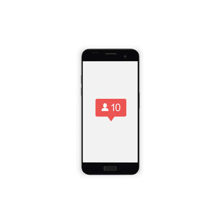 Phone with red social page icons. Smartphone for a social page with a sign of messages, likes and comments. Display vector illustration.  イラスト・ベクター素材