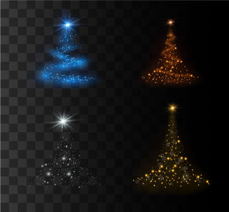 Christmas tree on a transparent background. Vector illustration of a beautiful spruce. Golden Christmas tree as a symbol of happy New Year, merry Christmas holiday.