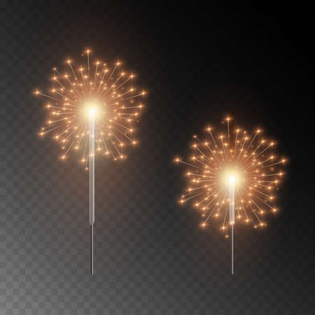 Christmas sparkler. Beautiful light effect with stars and sparks. Festive bright fireworks. Realistic lights isolated on transparent background. Decoration element for celebrations and holidays.