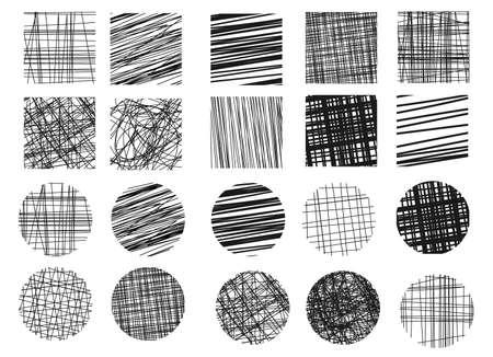 Collection de griffonnages. Effet de vecteur de dessin à la main. Éléments de grattoir. Illustration simple pour le web, projet créatif ou production imprimée. Croquis d'éclosion.