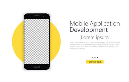 Development of a mobile application for creating a website design with a flat design and collaboration. Smartphone blank screen, phone layout. Template for infographic or presentation user interface