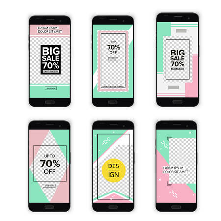 Trendy editable template for social networks on a mobile phone screen. Background design for social networks. Set of modern abstract vector banners. Flat geometric shapes for phones.