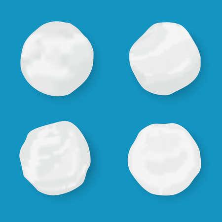 Realistic snow globe vector illustration. Set of snowball icons isolated. Vector illustration. Snow circle.