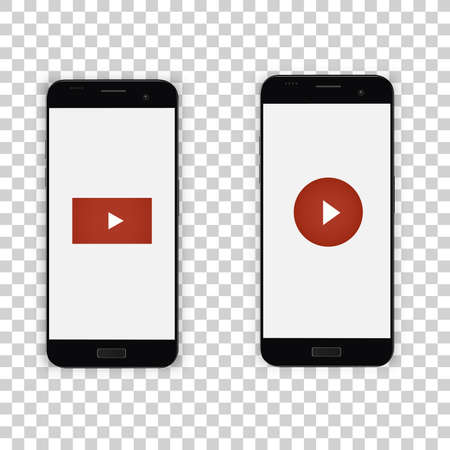 A phone with a video player button. A smartphone for a social page with a sign of messages, likes and comments. Display vector illustration.
