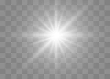 White glowing light explodes on a transparent background. Sparkling magical dust particles. Bright Star. Transparent shining sun, bright flash. Vector sparkles. To center a bright flash.  イラスト・ベクター素材