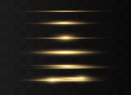yellow horizontal lens flares pack. Laser beams, horizontal light rays.Beautiful light flares. Glowing streaks on dark background. Luminous abstract sparkling lined background.  イラスト・ベクター素材
