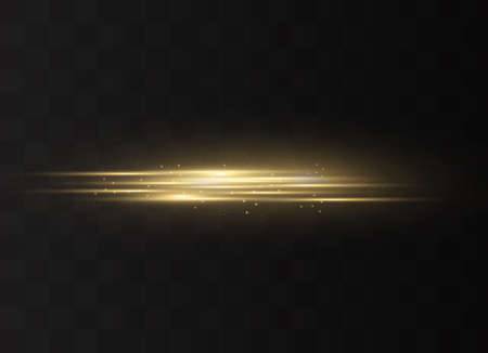 yellow horizontal lens flares pack. Laser beams, horizontal light rays. Beautiful light flares. Glowing streaks on dark background. Luminous abstract sparkling lined background. Çizim