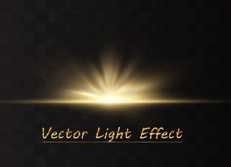 Light highlight yellow special effect with rays of light and magic sparkles. Sun Ray . Glow transparent vector light effect set, explosion, shine, spark, solar flare. 版權商用圖片 - 137136276