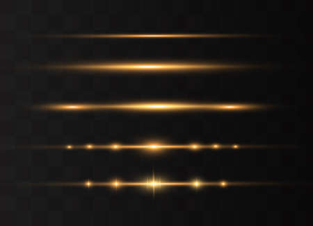 yellow horizontal lens flares pack. Laser beams, horizontal light rays.Beautiful light flares. Glowing streaks on dark background. Luminous abstract sparkling lined background. Çizim
