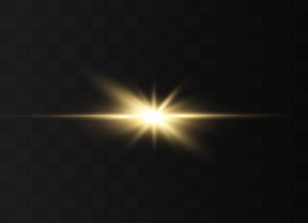Light highlight yellow special effect with rays of light and magic sparkles. Sun Ray . Glow transparent vector light effect set, explosion, shine, spark, solar flare. Çizim