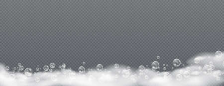 Beautiful foam and bubbles on a transparent background. Vector shave, foam mousse with bubbles top view template for your advertising design. Illustration