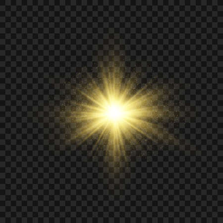 Yellow glowing light explodes on a transparent background. Sparkling magical dust particles. Bright Star. Transparent shining sun, bright flash. Vector sparkles. To center a bright flash.