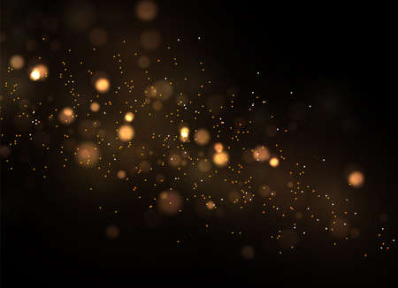 The dust sparks and golden stars shine with special light. Vector sparkles on a transparent background. Christmas light effect. Sparkling magical dust particles. Vetores