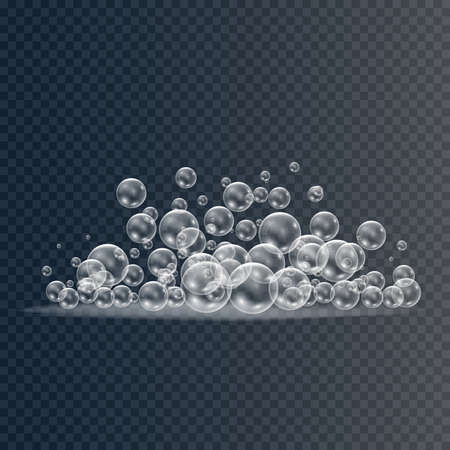 Set of realistic colorful soap bubbles to create a design. Transparent realistic soap bubbles isolated on transparent background.