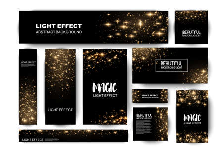 Banner with yellow dust. Light effect on beautiful banners. Dust effect. Dust particles flicker on a dark background. vector illustration. magic and magic. Ilustracje wektorowe