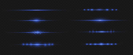 Blue horizontal lens flares pack. Laser beams, horizontal light rays.Beautiful light flares. Glowing streaks on dark background. Luminous abstract sparkling lined background. Illustration