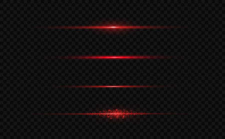 Red horizontal lens flares pack. Laser beams, horizontal light rays.Beautiful light flares. Glowing streaks on dark background. Luminous abstract sparkling lined background. Illustration
