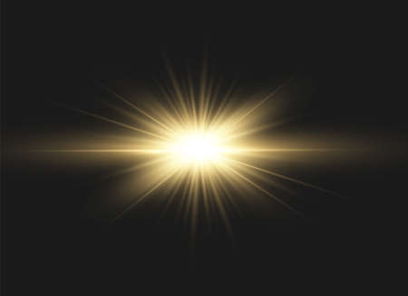 Yellow glowing light explodes on a black background. Sparkling magical dust particles. Bright Star. Transparent shining sun, bright flash. Vector sparkles. To center a bright flash.