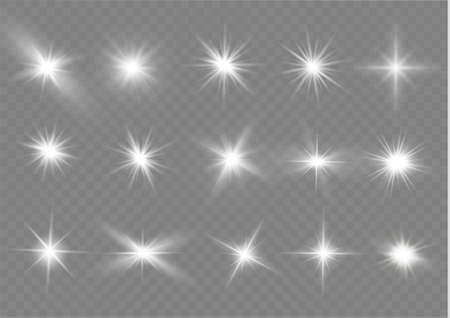 White glowing light explodes on a transparent background. Sparkling magical dust particles. Bright Star. Transparent shining sun, bright flash. Vector sparkles.