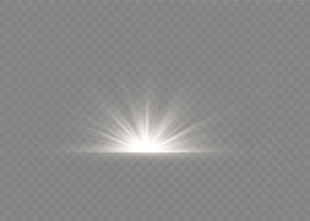 Light flare special effect with rays of light and magic sparkles. Glow transparent vector light effect set, explosion, glitter, spark,white , sun flash. Illustration