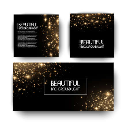 Banner with yellow dust. Light effect on beautiful banners. Dust effect. Dust particles flicker on a dark background. vector illustration. magic and magic. Illustration