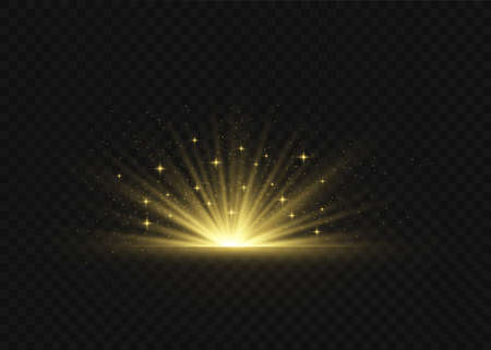 Light highlight yellow special effect with rays of light and magic sparkles. Sun Ray. Glow transparent vector light effect set, explosion, shine, spark, solar flare. Illustration