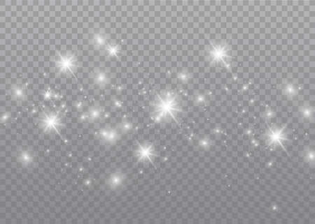 The dust sparks and golden stars shine with special light. Vector sparkles on a transparent background. Christmas light effect. Sparkling magical dust particles.