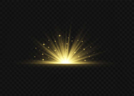 Light highlight yellow special effect with rays of light and magic sparkles. Sun Ray. Glow transparent vector light effect set, explosion, shine, spark, solar flare. 일러스트