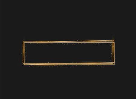 Golden shiny frames with dust isolated on a transparent background. Luxurious realistic borders. Vector illustration of a gold rim. golden gradient frames with light.
