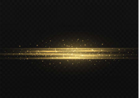 Yellow horizontal lens flares pack. Laser beams, horizontal light rays. Beautiful light flares. Glowing streaks on dark background. Luminous abstract sparkling lined background.