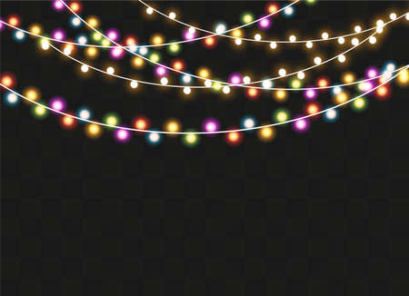 Christmas lights isolated on transparent background. Xmas glowing garland. Vector illustration Иллюстрация