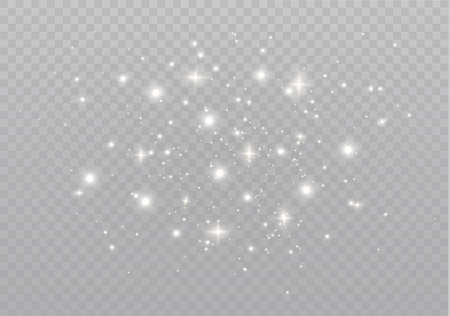 The white dust sparks and golden stars shine with special light. Vector sparkles on a transparent background.  Sparkling magical dust particles. Иллюстрация